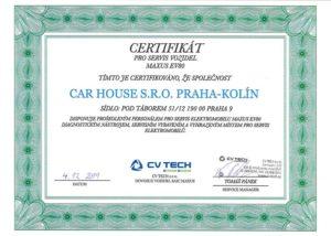 certifikát servisu elektro vozů Maxus