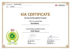 Kia certifikát servisu CarHouse