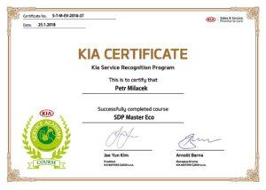 Kia certifikát Miláček servisu CarHouse