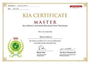 Kia certifikát Poláková servisu CarHouse